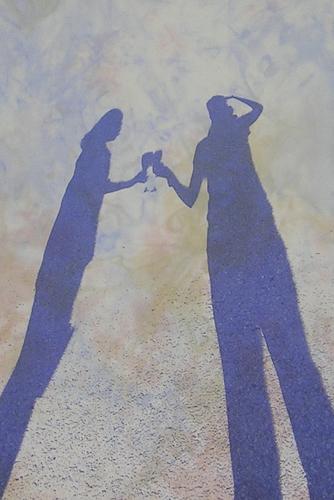 Digital image printed onto hand-dyed silk